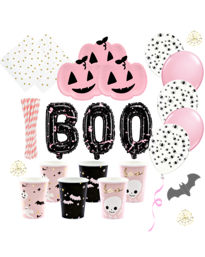 Magicoo Halloween Party Set rosa schwarz gold