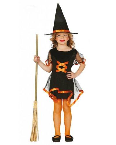 Magicoo Schickes Hexenkostüm für Kind orange-schwarz