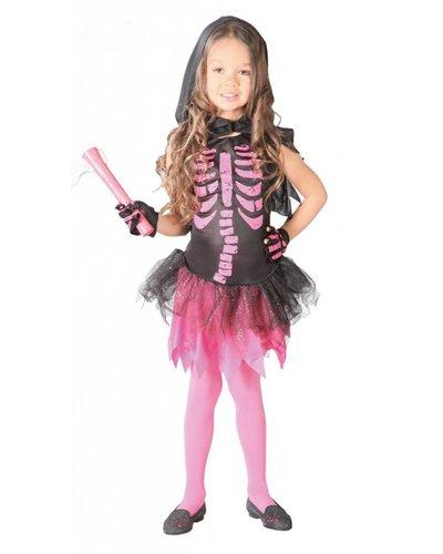 Magicoo Skelett Kostüm für Kinder pink-schwarz