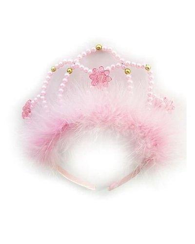 Magicoo Diadem rosa mit Perlen und Federn