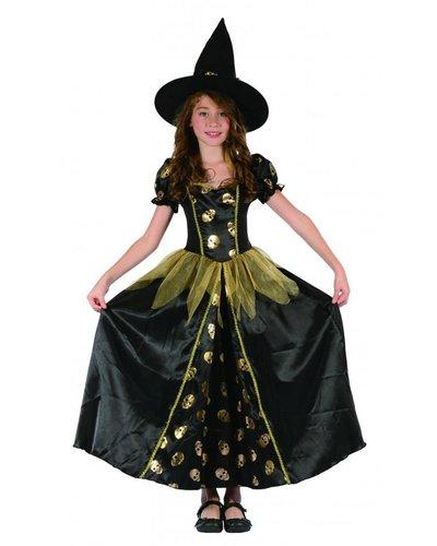 Magicoo Hexenkönigin - Hexenkostüm für Kind gold-schwarz