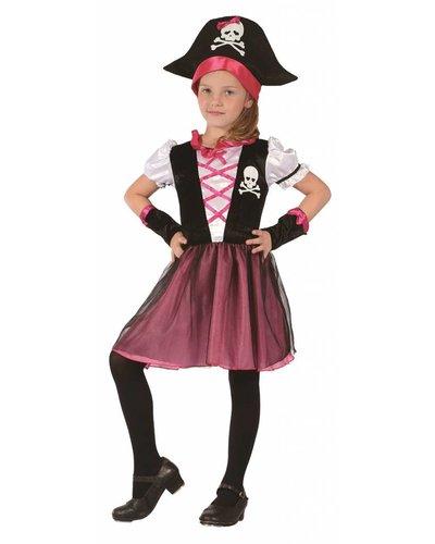 Magicoo Komplettes Piratin Kostüm für Kinder pink-schwarz-weiß