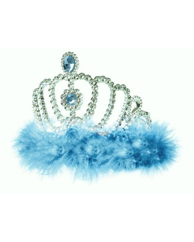 Magicoo Prinzessin Diadem blau mit Federn - Eiskönigin Diadem