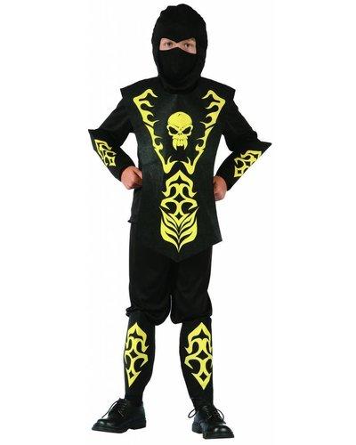 Magicoo Ninja Kostüm Kinder gelb schwarz mit Totenkopf