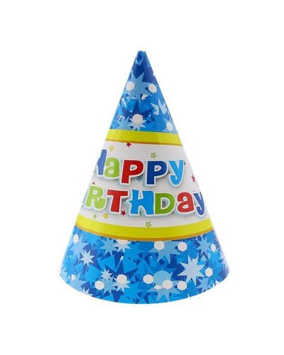Magicoo 6 Partyhüte blau Kindergeburtstagsparty