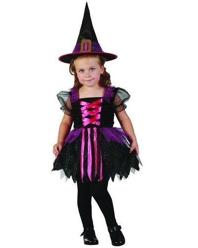 Magicoo Hexenkostüm für Kleinkinder Größe 92-104 pink-schwarz-lila