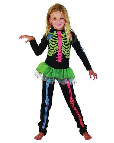 Magicoo Buntes Skelett Kostüm für Mädchen Neonfarben