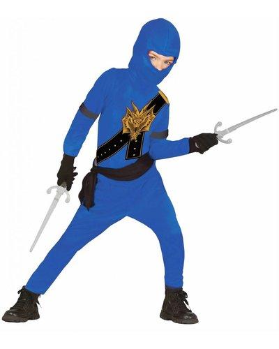 Magicoo Kostüm Ninja für Kinder blau mit Dragon Print - Ninja Kostüm Kinder