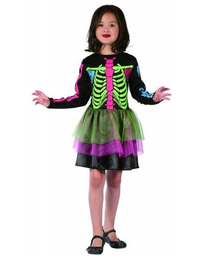 Magicoo Bunte Knochenlady - buntes Halloween Kostüm Skelett für Mädchen