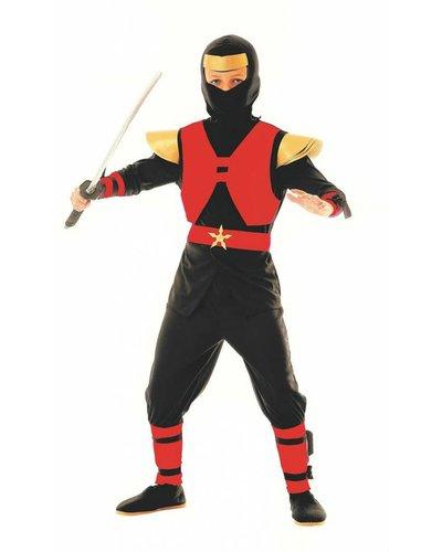 Magicoo Royal Ninja Kostüm Jungen rot-schwarz - Ninja Kostüm Kind