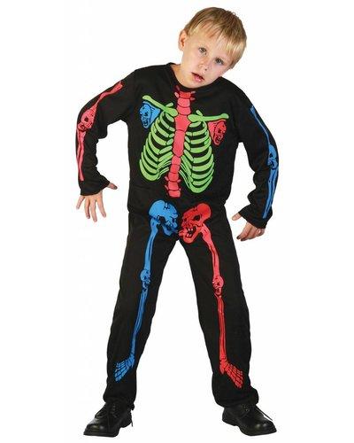 Magicoo Skelett Kostüm für Jungen bunt - Skelett Kinder Kostüm Neon
