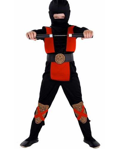 """Magicoo Ninja-Kostüm Kind rot-schwarz mit """"Muskeln"""""""