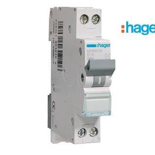 Hager Installatieautomaat 16A B 1P+N