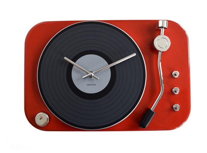 invotis klok platenspeler rood