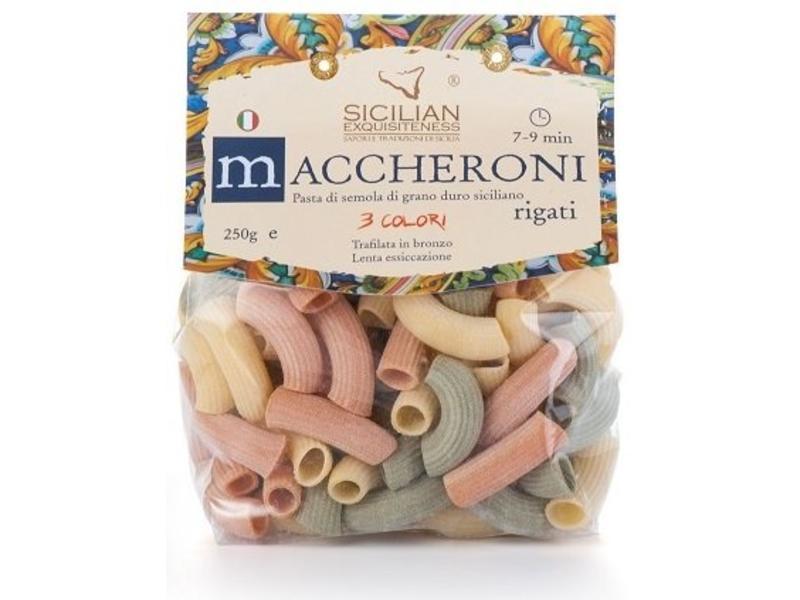 Maccheroni Rigati 3 kleuren: Siciliaanse pasta van grano duro