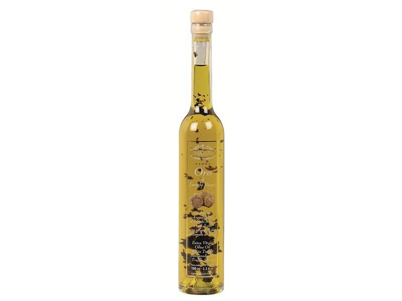 Extra vergine olijfolie met stukjes witte truffel