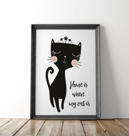 """Poster Katze """"Home is where my cat is"""""""