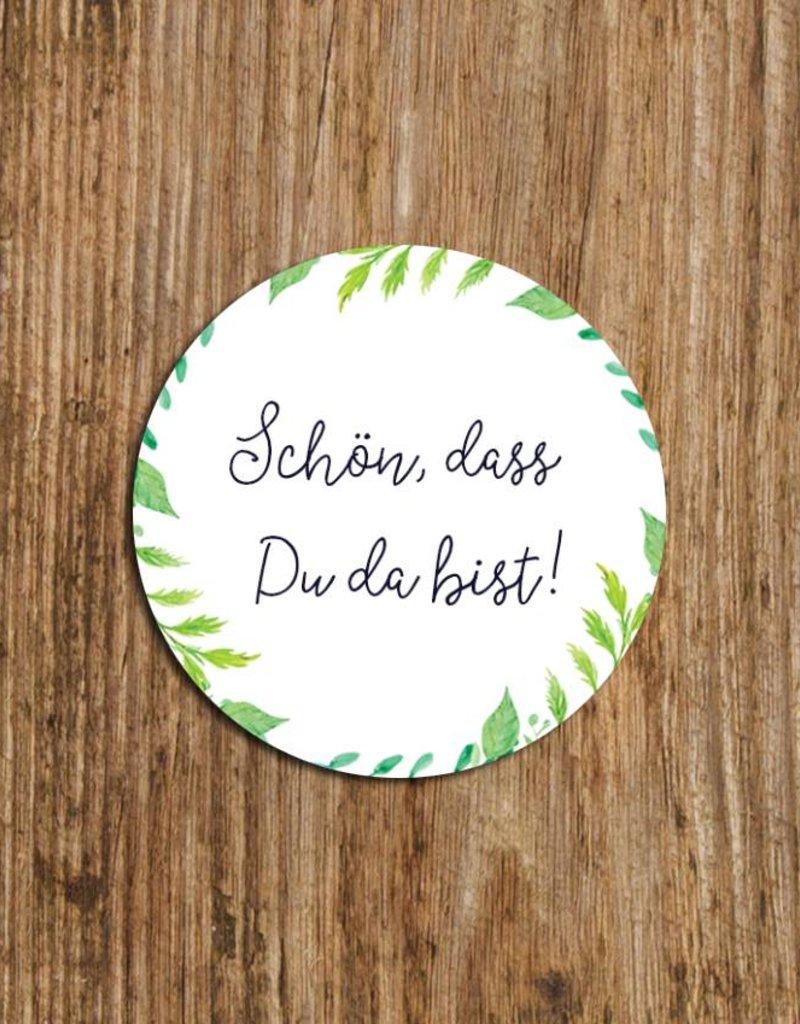 """50 Sticker """"Schön, dass Du da bist!"""" Grüne Hochzeit"""