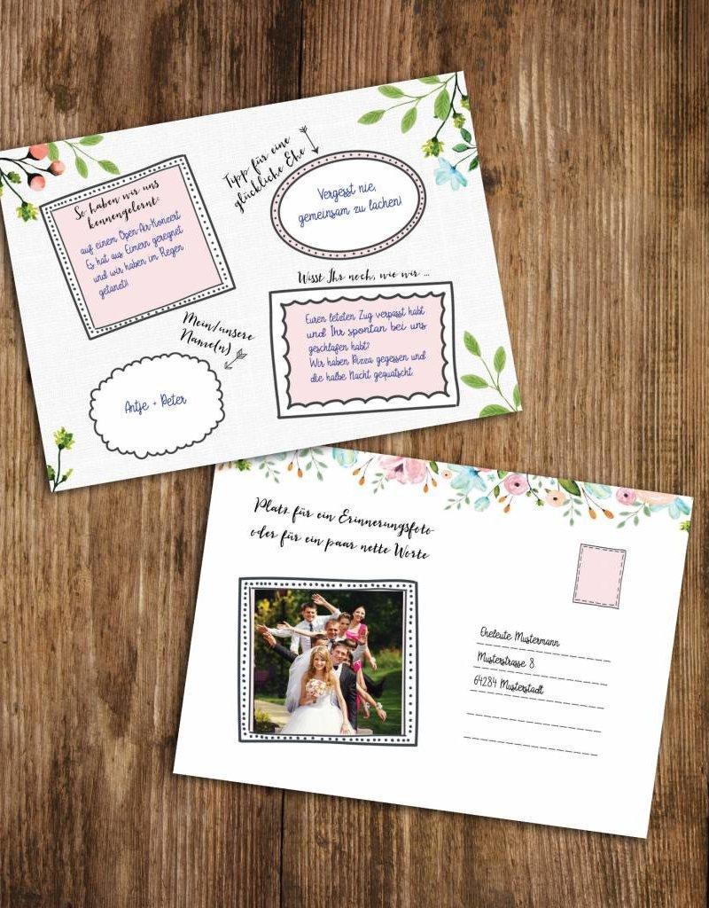 50 Gästebuchkarten zum Versenden - Hochzeitsspiel