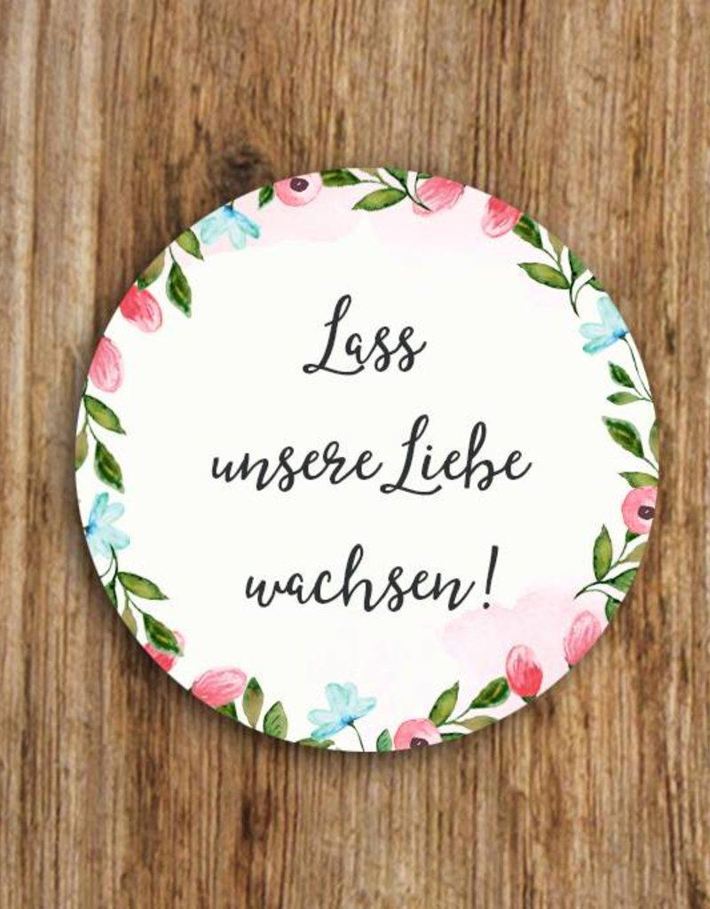 """50 Sticker """"Lass unsere Liebe wachsen!"""" Weiße Hochzeit"""
