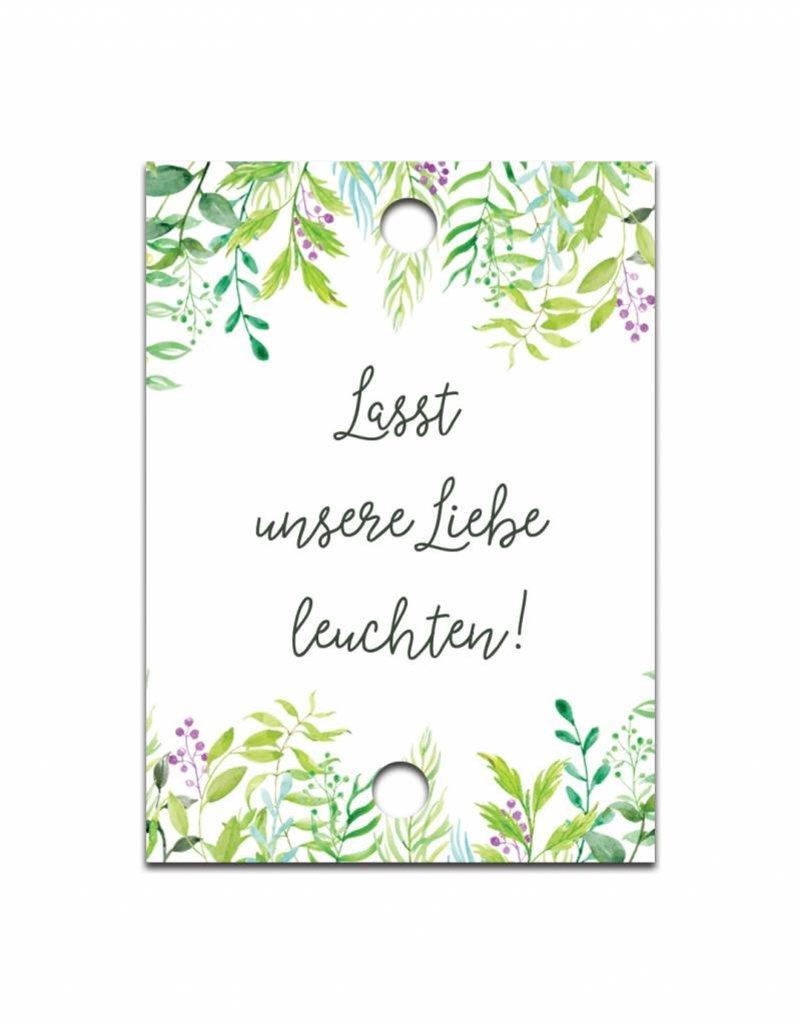 """50 Schilder für Knicklichter """"Grüne Hochzeit"""""""