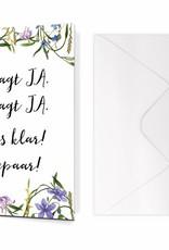 """Glückwunschkarte Hochzeit """"Sie sagt JA. Er sagt JA."""" BLAU"""