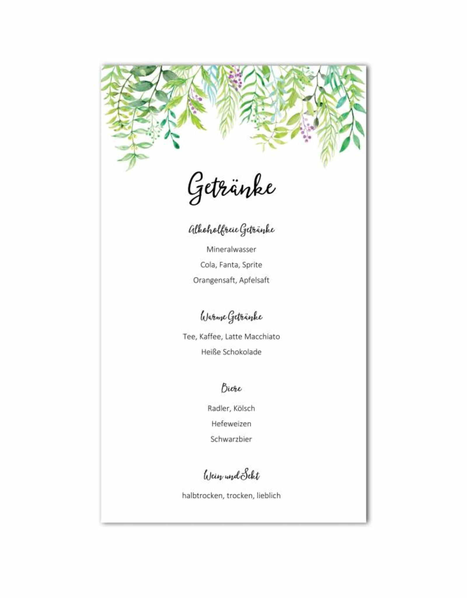 """0 Menükarten zum Bedrucken """"Grüne Hochzeit"""" Getränkekarte Hochzeit"""