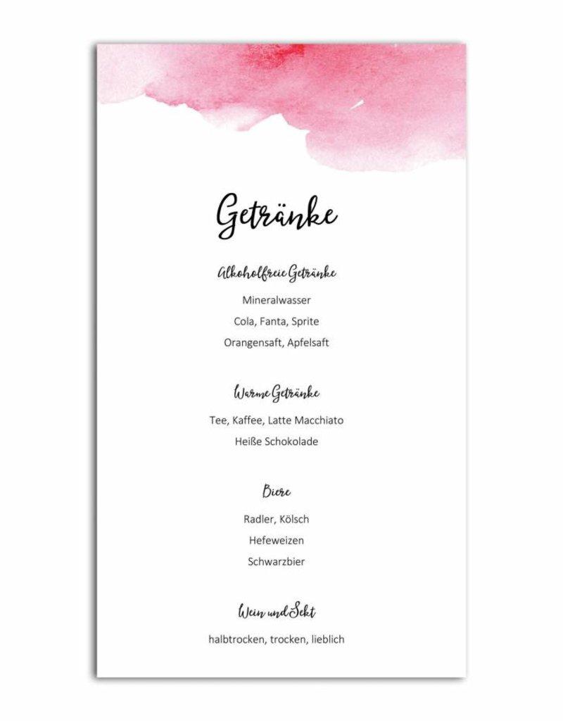 "0 Menükarten zum Bedrucken ""Aquarell Hochzeit"" Getränkekarte Hochzeit - Copyhzeit"" Getränkekarte Hochzeit"