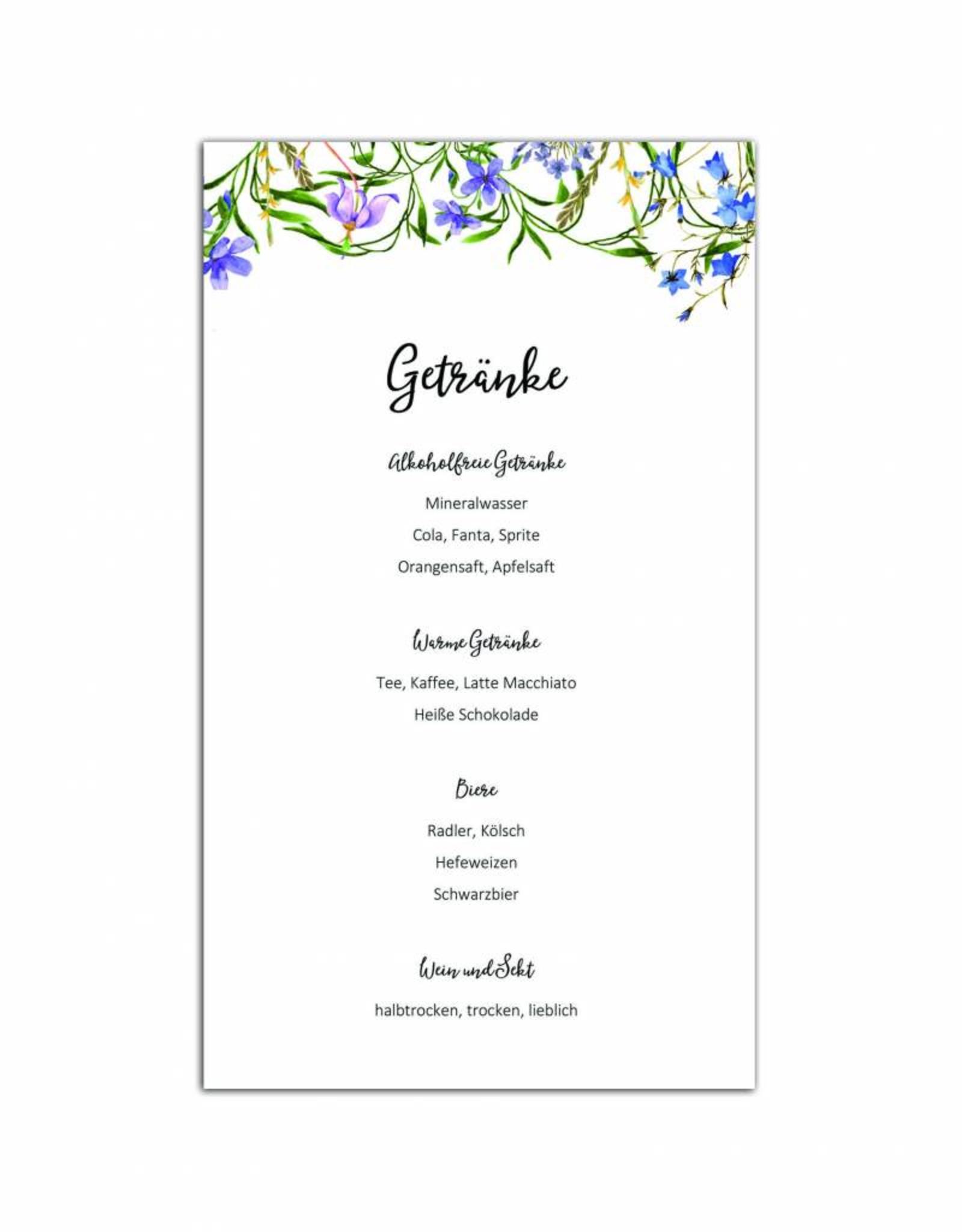 """10 Menükarten zum Bedrucken """"Blaue Hochzeit"""" Getränkekarte Hochzeit"""