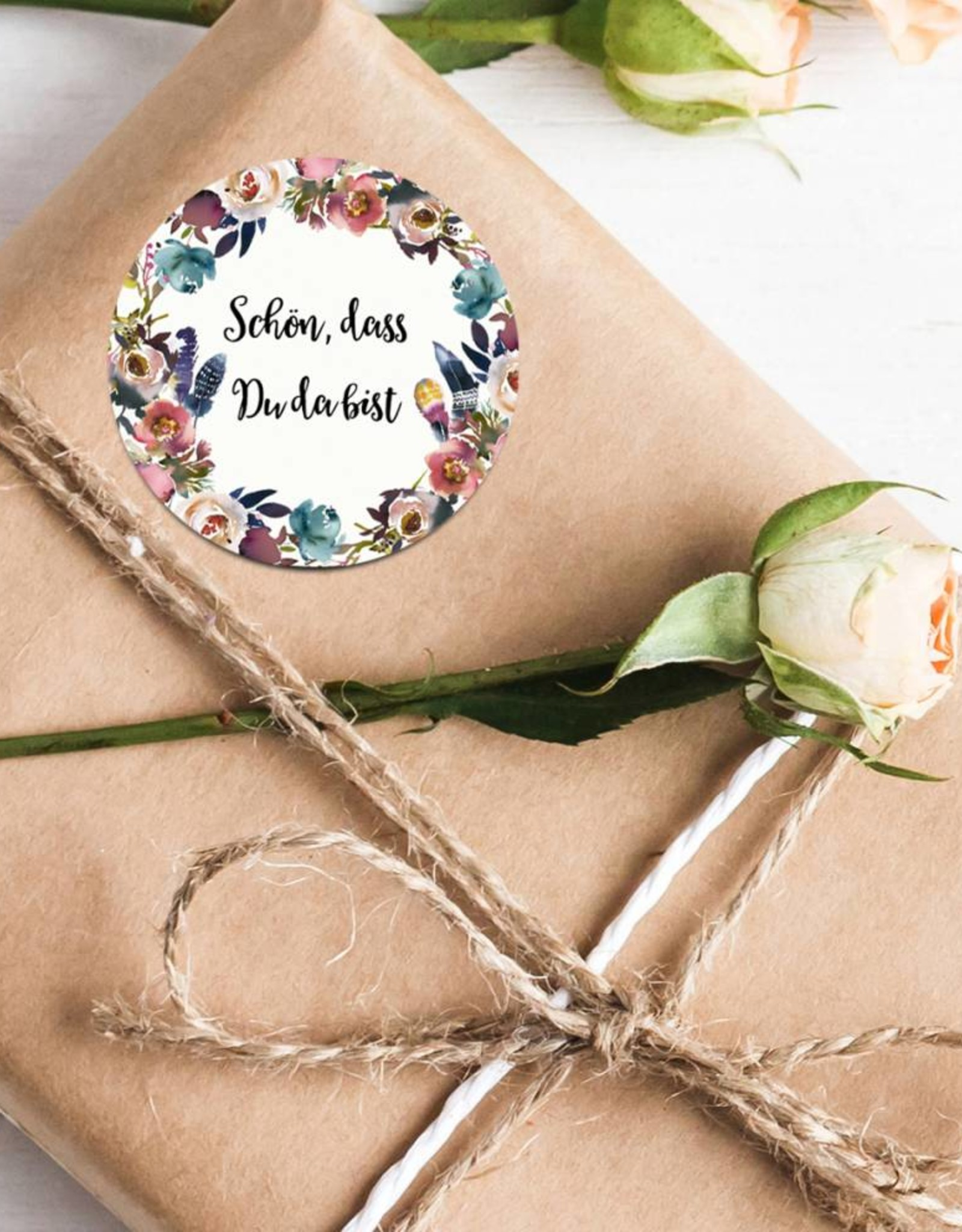 """50 Sticker """"Schön, dass Du da bist!"""" Boho Hochzeit"""