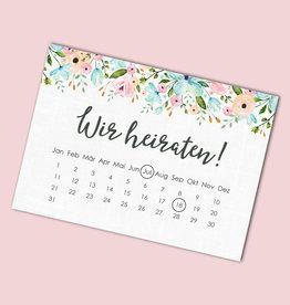 """Save the date Karten """"Weiße Hochzeit Kalender"""" 50 Stück"""