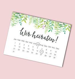 """Save the date Karten """"Grüne Hochzeit Kalender"""" 50 Stück"""