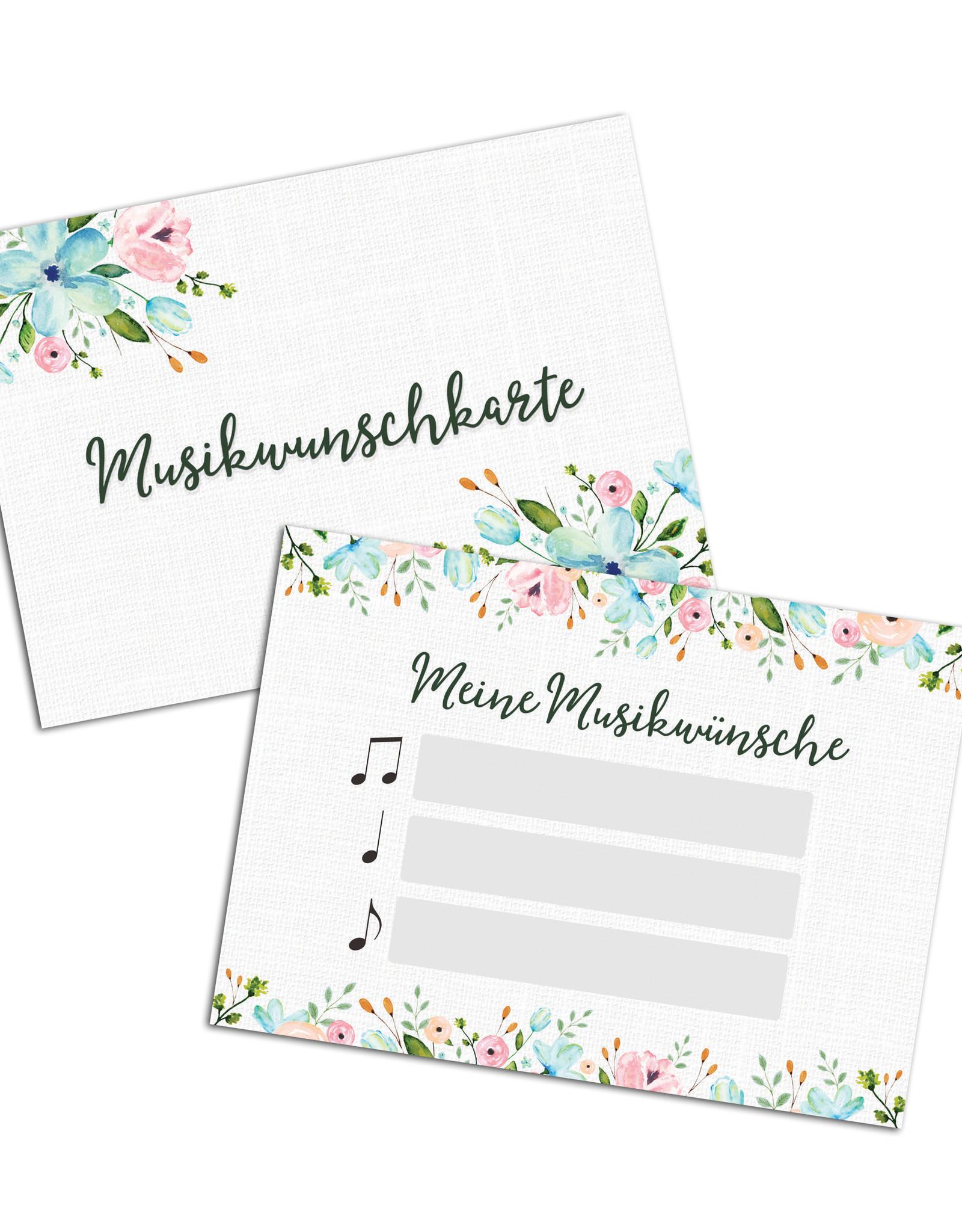 50 Musikwunschkarten für Hochzeit oder Geburtstag