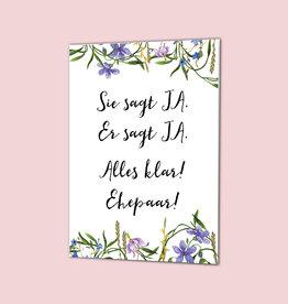 """Glückwunschkarte Hochzeit """"Sie sagt Ja"""" BLAU"""