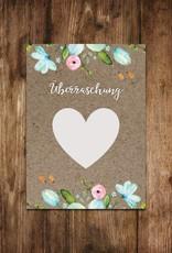 """5 x Rubbelkarten """"Überraschung Blumen""""  VINTAGE BRAUN"""