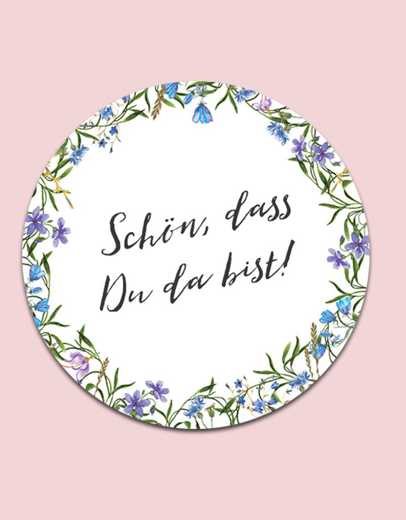 """50 Sticker """"Schön, dass Du da bist!"""" Blaue Hochzeit"""