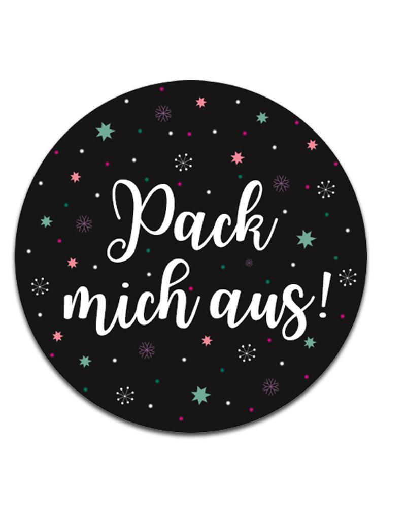 """25 Sticker """"Pack mich aus"""" Geschenkaufkleber"""