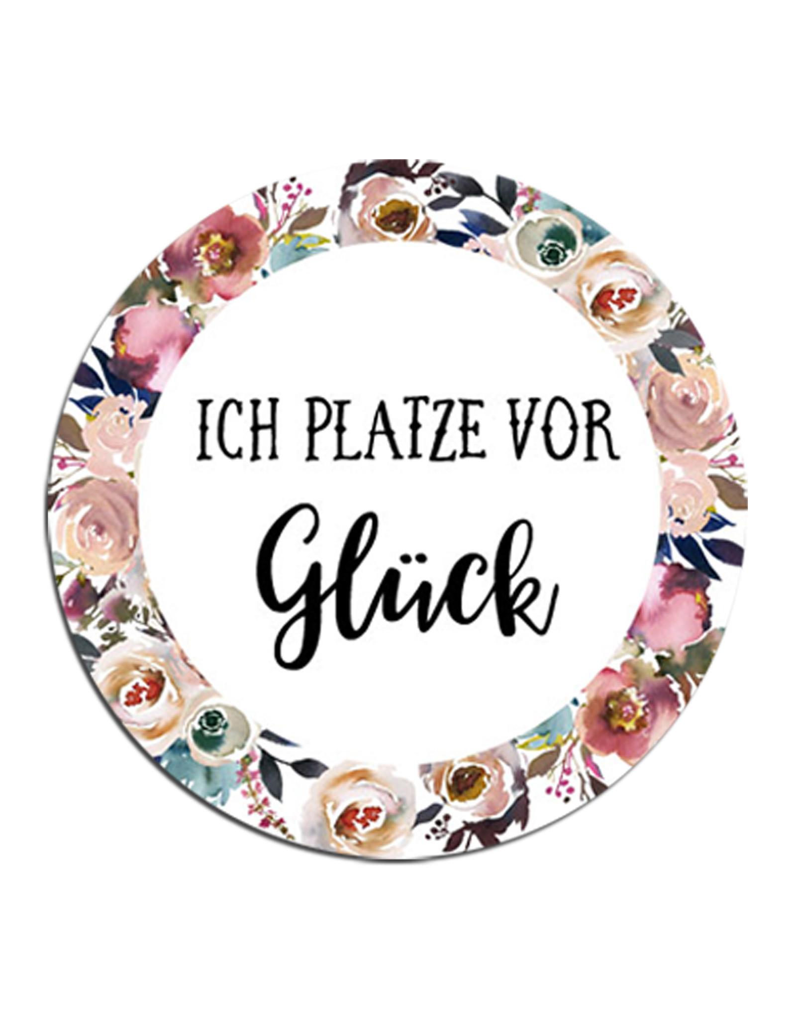 """50 Sticker """"Ich platze vor Glück!"""" BOHO Hochzeit Seifenblasen"""