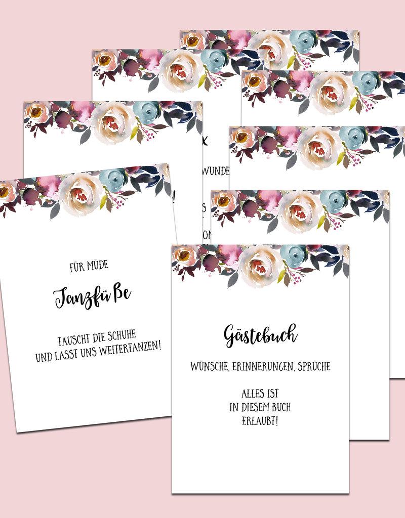 Schild Hochzeit 8er Set, Hochzeitsschilder BOHO