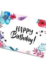 Postkarte Geburtstag Blumen Aquarell