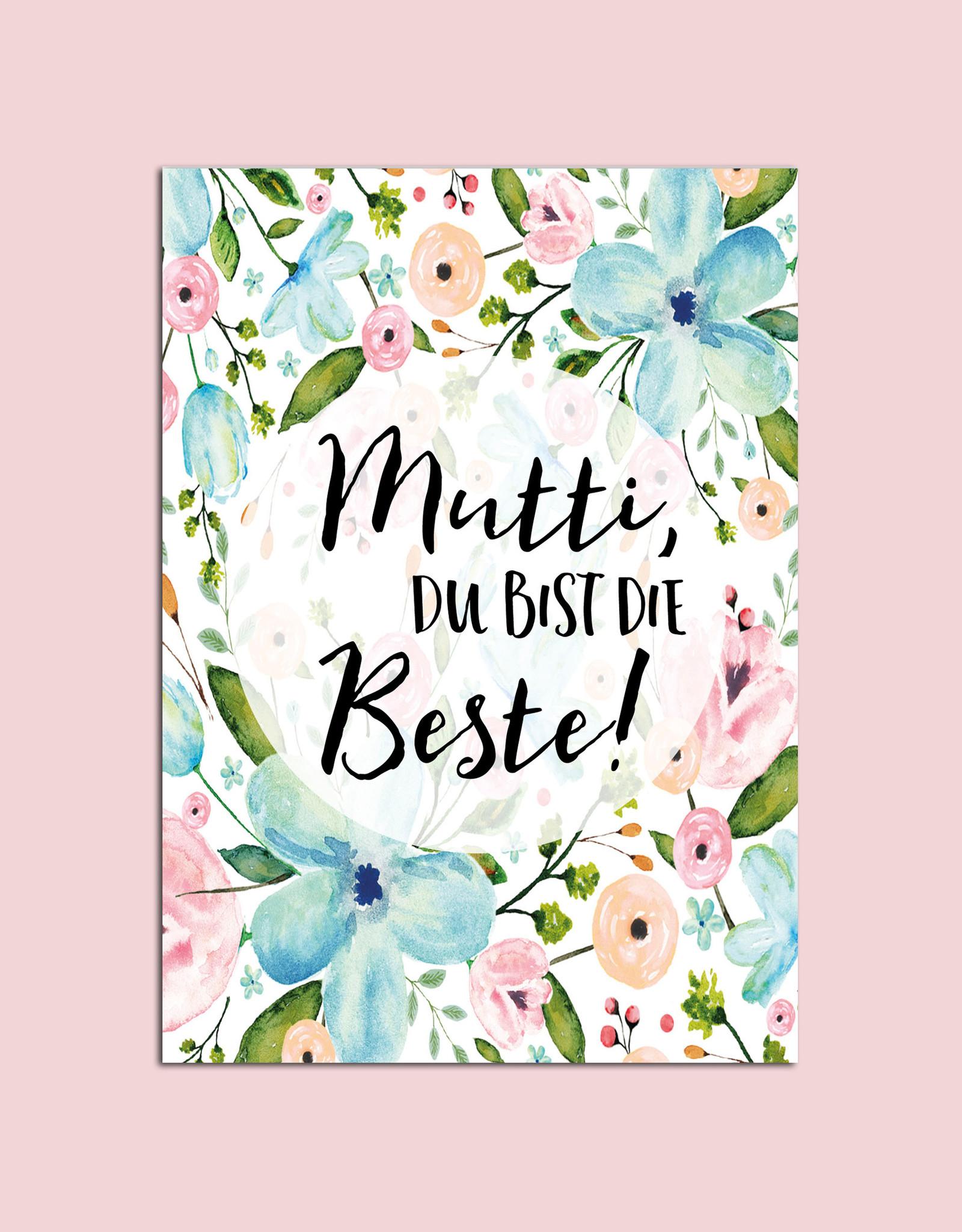 """Postkarte zum Muttertag """"Mutti Du bist die Beste"""""""