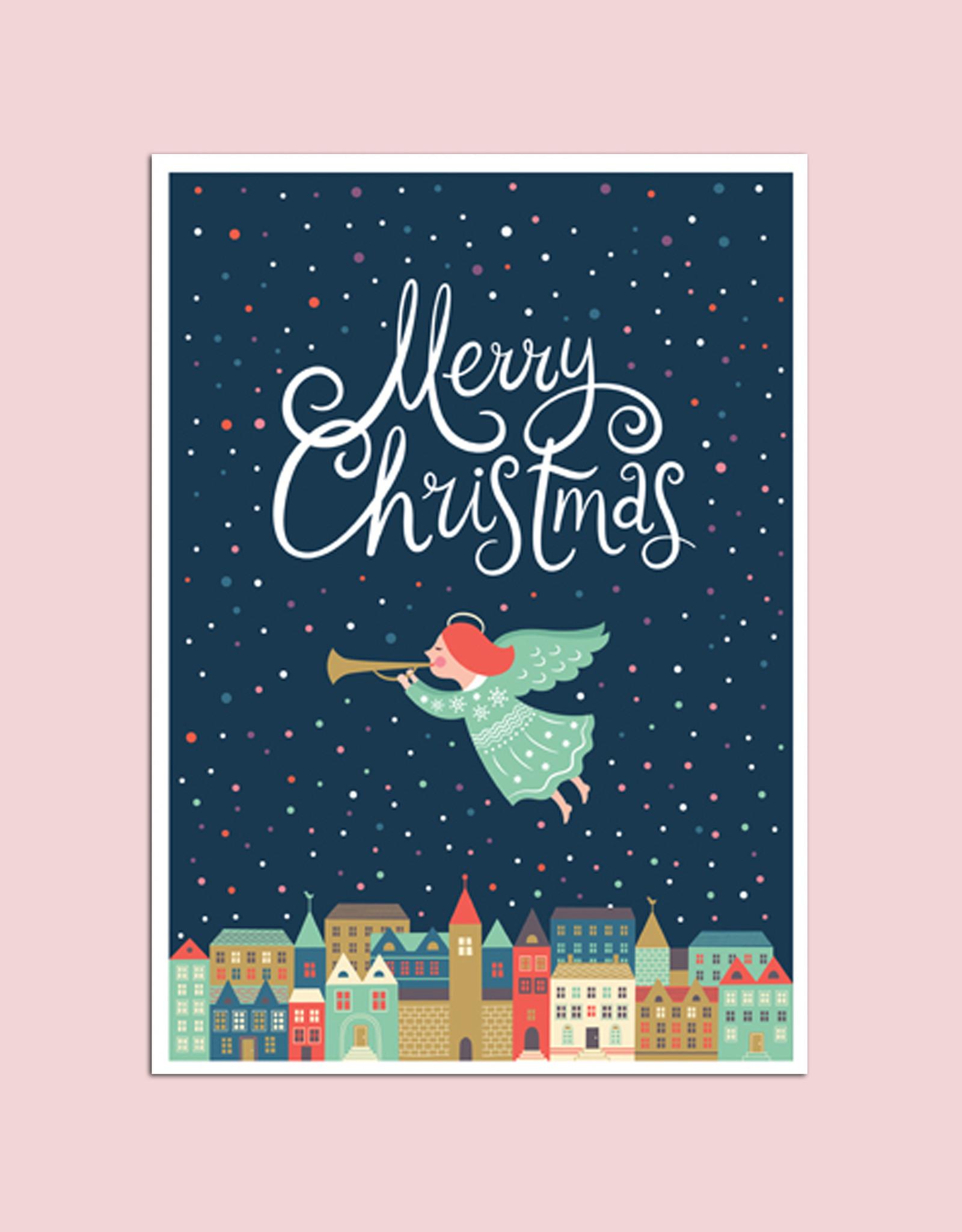 """Postkarte """"Über der Stadt"""", Weihnachtskarte"""