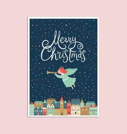 """Postkarte """"Über der Stadt Engel"""", Weihnachtskarte"""