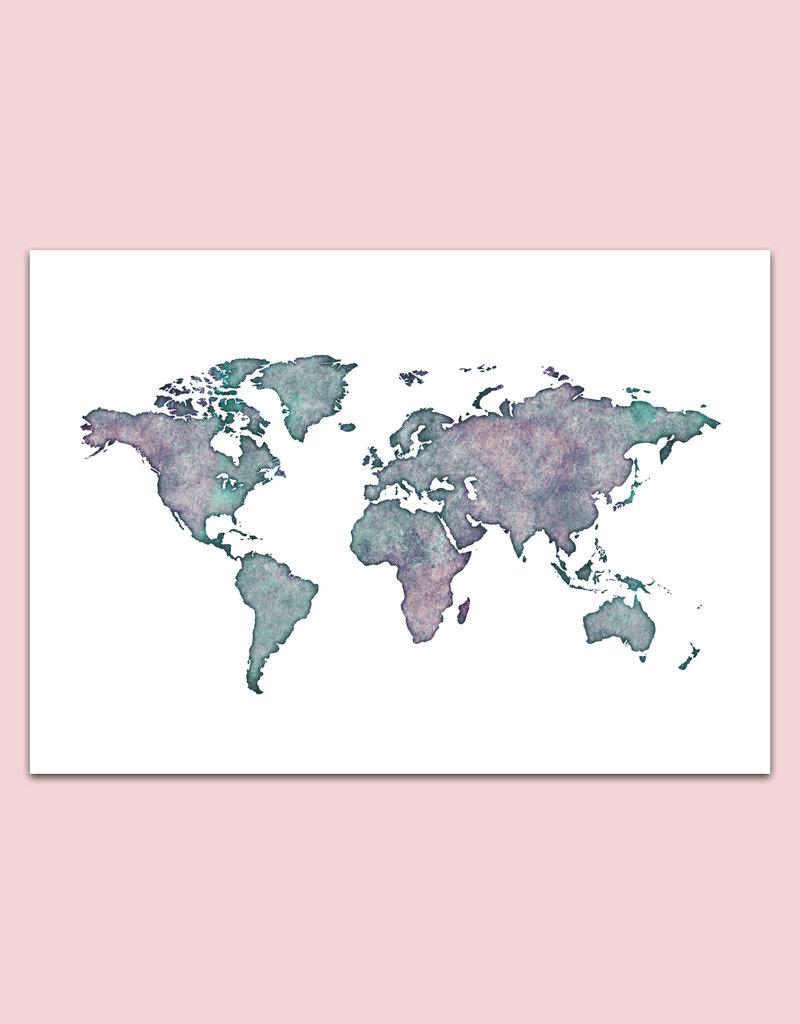 Wandbild Weltkarte Aquarell Poster Weltkarte Nastami De
