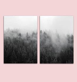 Poster Set Wald Nebel, 2er Set Poster A3