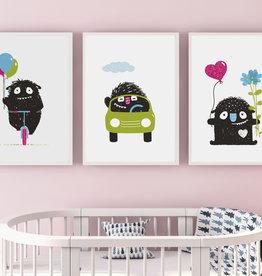 Kinderzimmerbilder 3er Set Monster