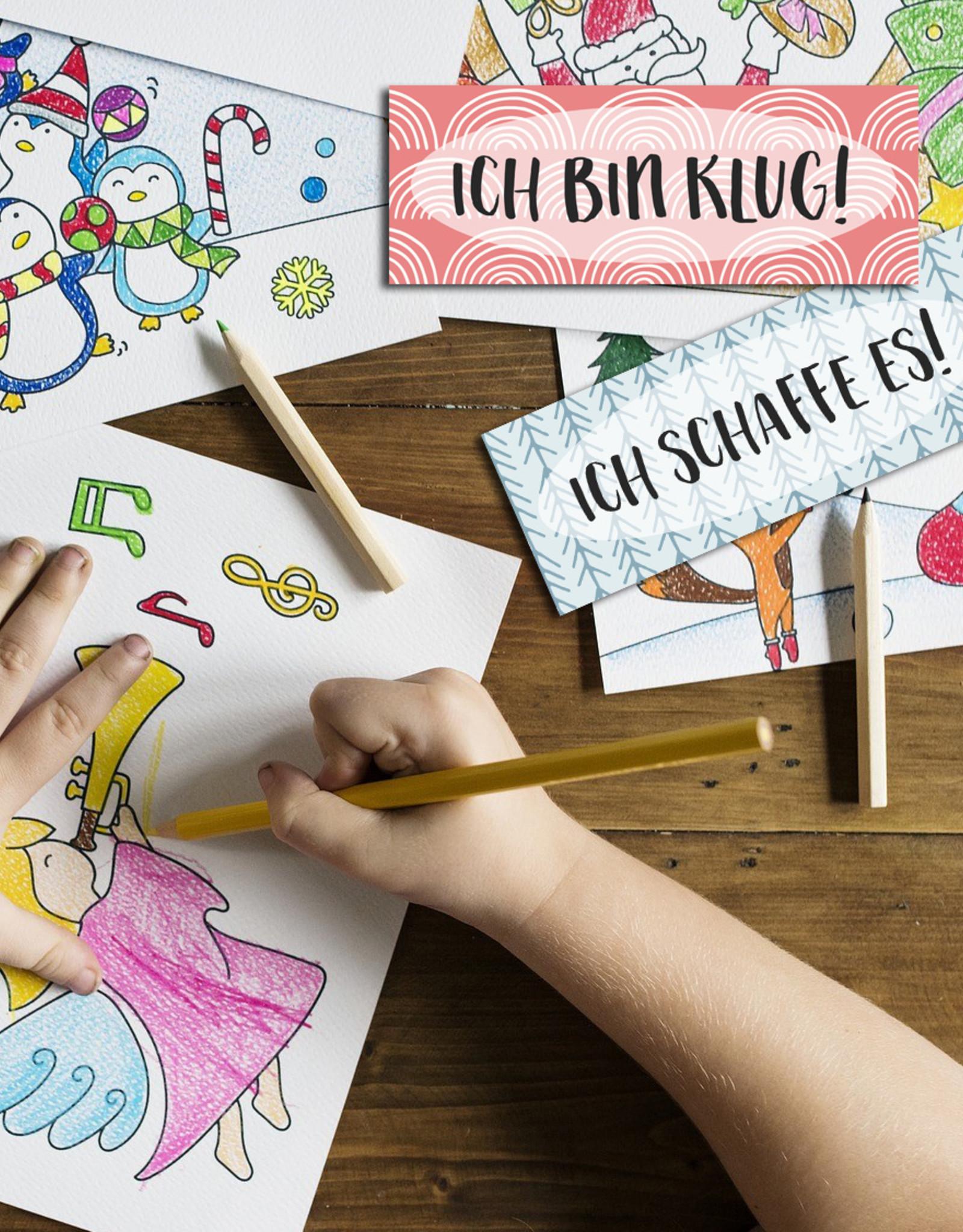 Lesezeichen Glaubenssätze für Kinder 4er Set, Wende-Lesezeichen Affirmationen