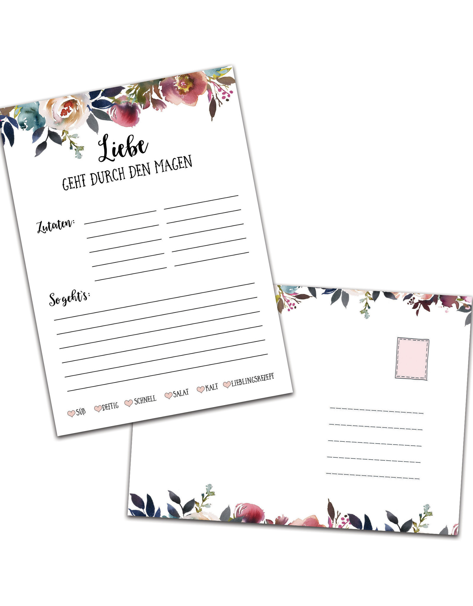 """50 Rezeptkarten """"Boho Hochzeit"""" DIN A6"""