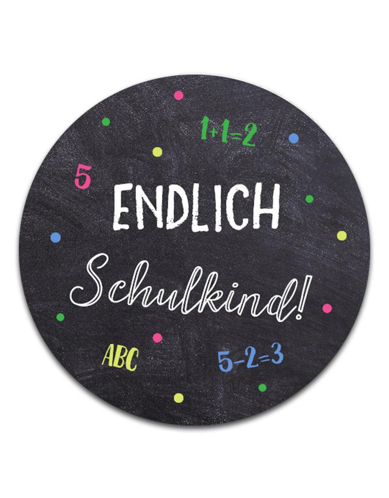 """50 x Sticker """"Endlich Schulkind"""" Schulanfang Einschulung Aufkleber"""