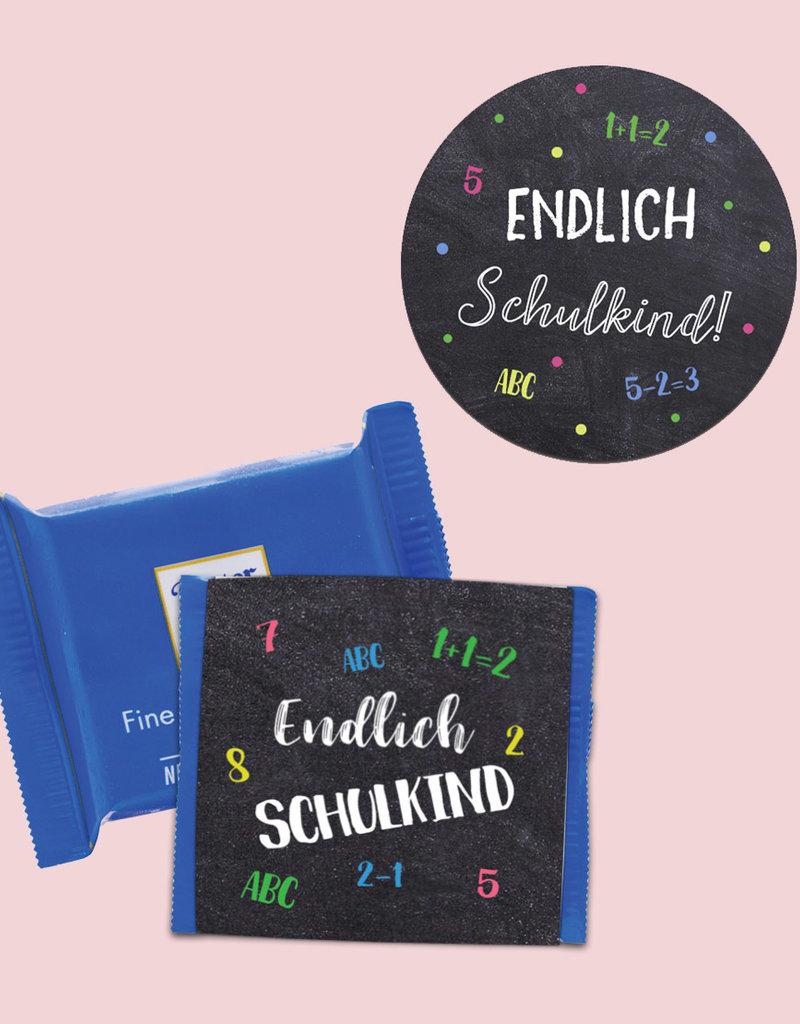"""25 x Sticker """"Endlich Schulkind"""" + 25 Banderolen SCHULANFANG"""